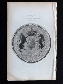 Morgan 1851 Antique Print. Great Seal of the Province of New York 1705-1710